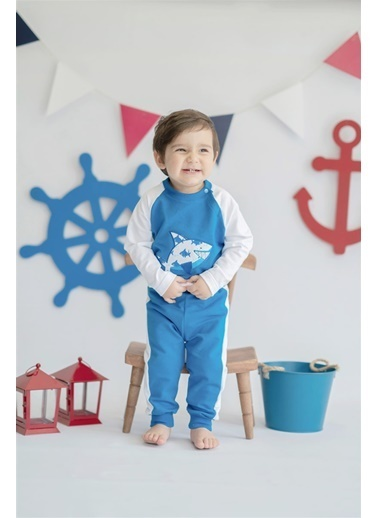 Nila Kids Shark in Blue Organik Erkek Bebek Sweatshirt Mavi